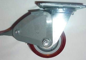 "4"" Red Heavy Duty Swivel Caster w/brake"